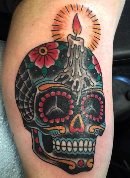 Tatuaggio Tattoo Teschio Messicano candela