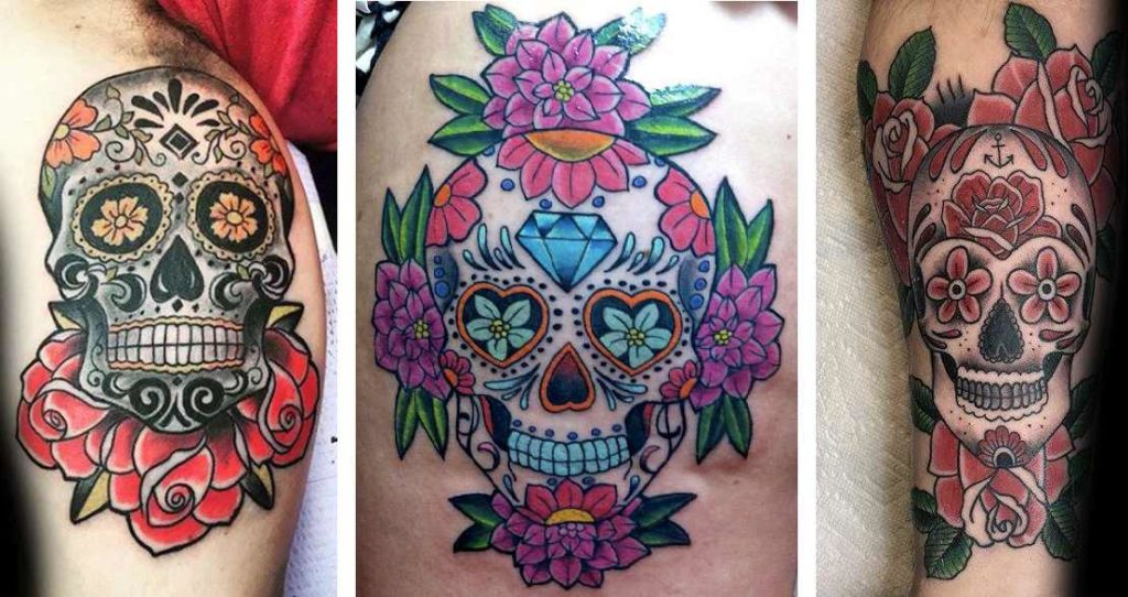Tatuaggio Tattoo Teschio Messicano fiori