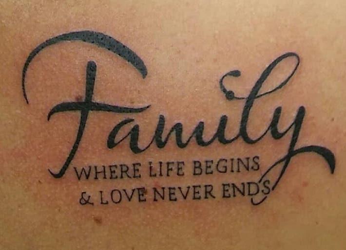 Tatuaggio Tattoo Famiglia Scritta