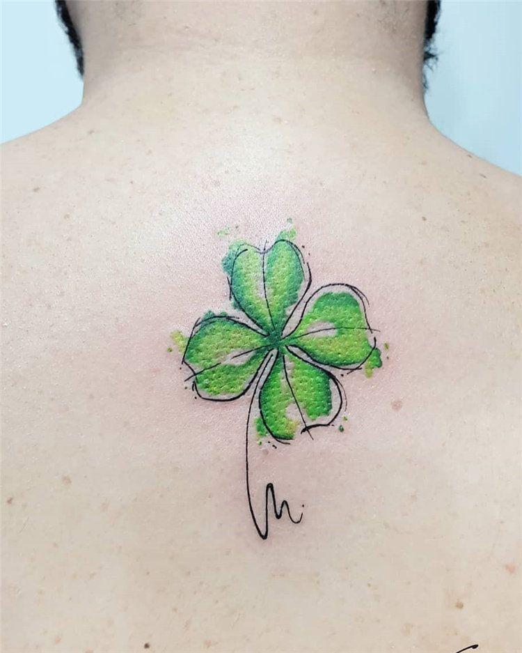 Tatuaggio Tattoo Quadrifoglio Colorato