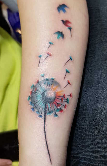 Tatuaggio Tattoo Soffio Dente Leone Colorato