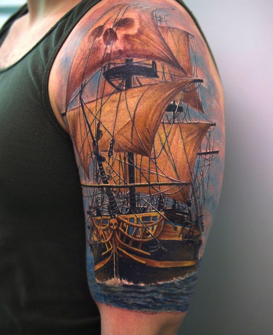 Tatuaggio Tattoo Veliero Colorato