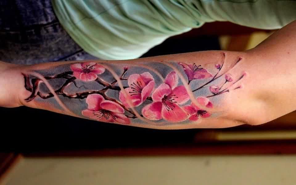 Tatuaggio Tattoo Fiori Ciliegio Braccio