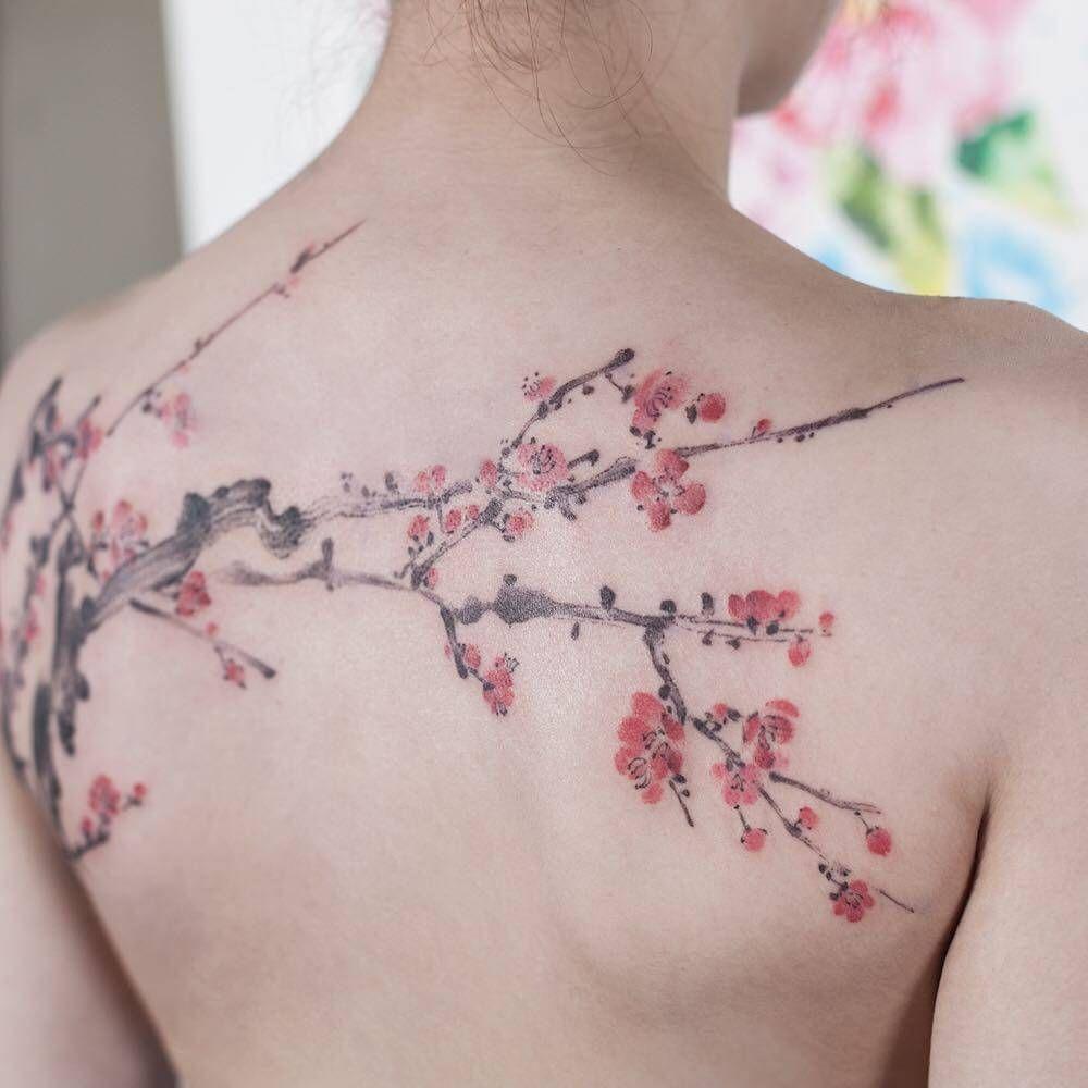 Tatuaggio Tattoo Fiori Ciliegio Schiena