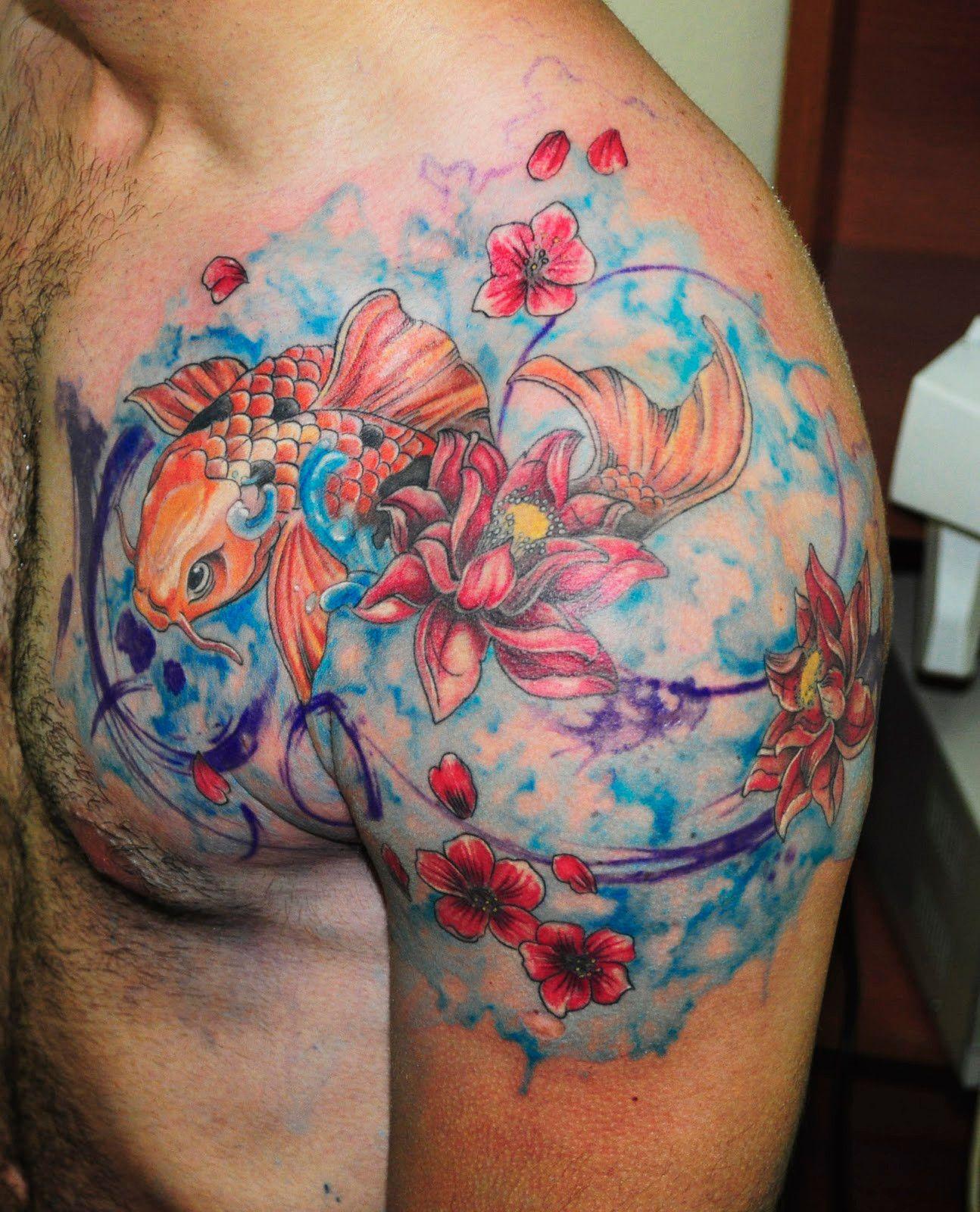 Tatuaggio tattoo acquerello pesce rosso