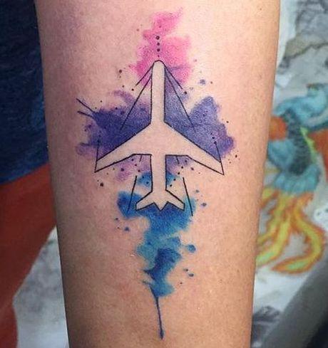 Tatuaggio tattoo aereo acquerello 2