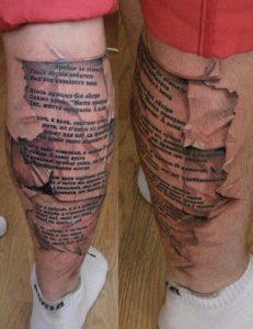 Tatuaggio tattoo gamba uomo scritta