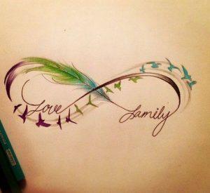 Tatuaggio tattoo infinito con nome colorato