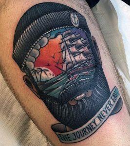 Tatuaggio tattoo mare marinaio