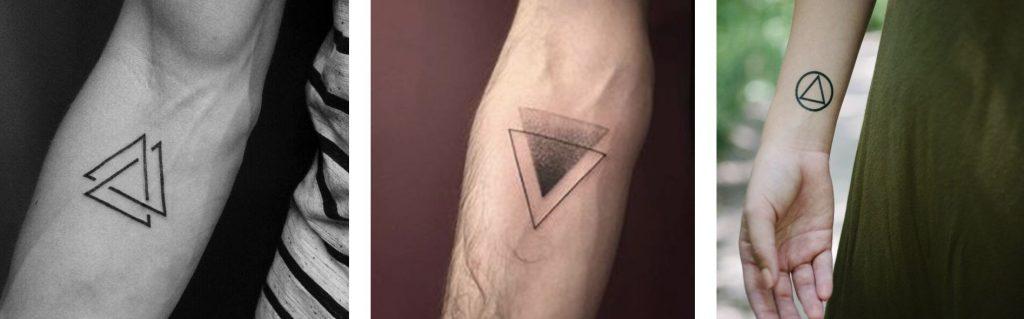 Tatuaggio tattoo triangolo due tre cerchio