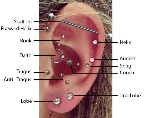 Nomi e foto di piercing all'orecchio