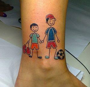 Tatuaggio Tattoo Bambini Stilizzati padre figlio