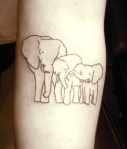 Tatuaggio Tattoo Elefante Famiglia
