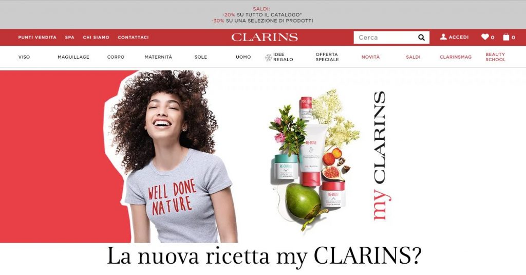 Clarins e commerce cosmetici screen
