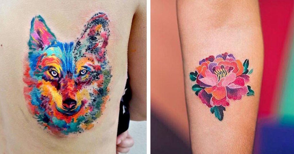 Tatuaggio tattoo acquerello leone fiori