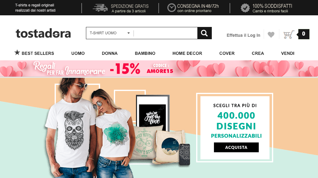 Tostadora maglie gadget personalizzati e commerce screen