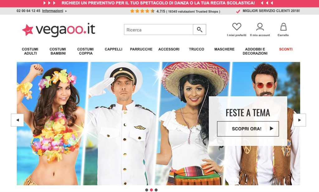 Vegaoo E Commerce costumi feste tema screen