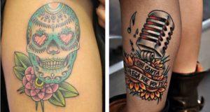 Tatuaggi Tattoo Alessandra Amoroso teschio messicano e microfono chi canta prega due volte