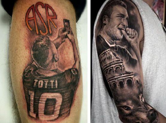 Tatuaggi Tattoo Francesco Totti fan selfie e lupa