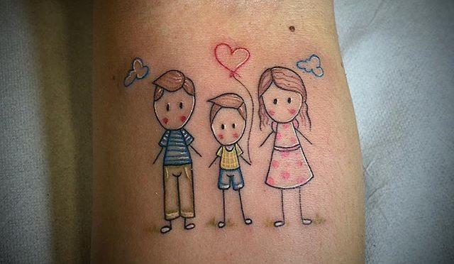 Tatuaggio Tattoo Bambini Stilizzati famiglia