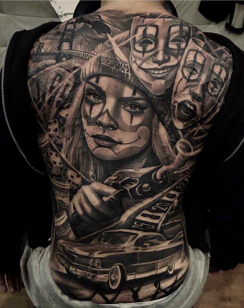 Tatuaggio Tattoo Chicano donna schiena