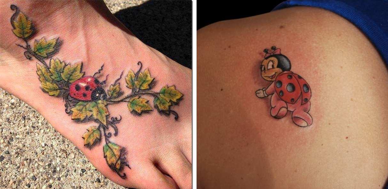 Tatuaggio Tattoo Coccinella realistica e cartoon