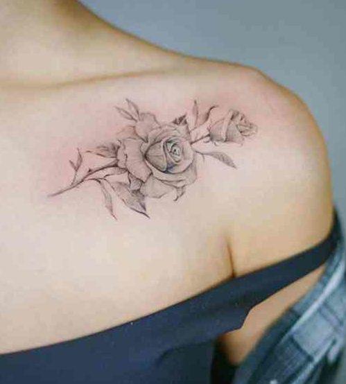 Tatuaggio Tattoo Elegante Femminile rosa bianco nero