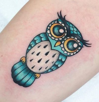 Tatuaggio Tattoo Gufo colorato