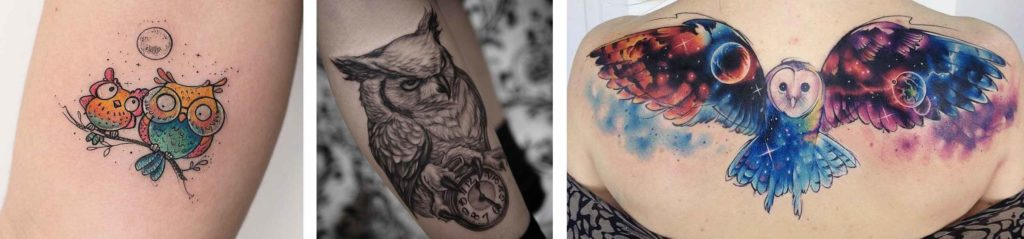 Tatuaggio Tattoo Gufo stili diversi