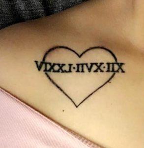 Tatuaggio Tattoo Numeri Romani Cuore