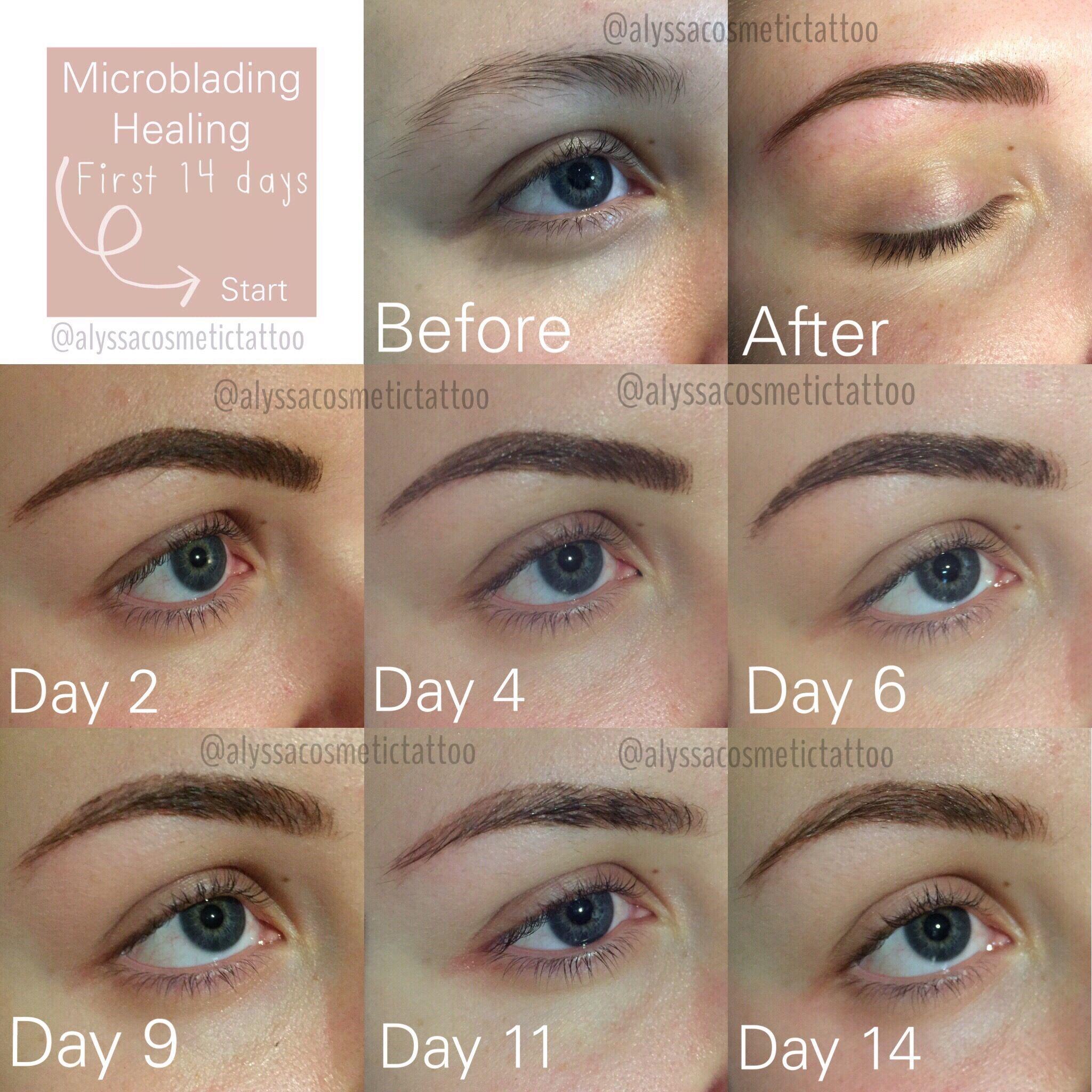 Risultati Prima Dopo e Dopo 2 settimane Microblading