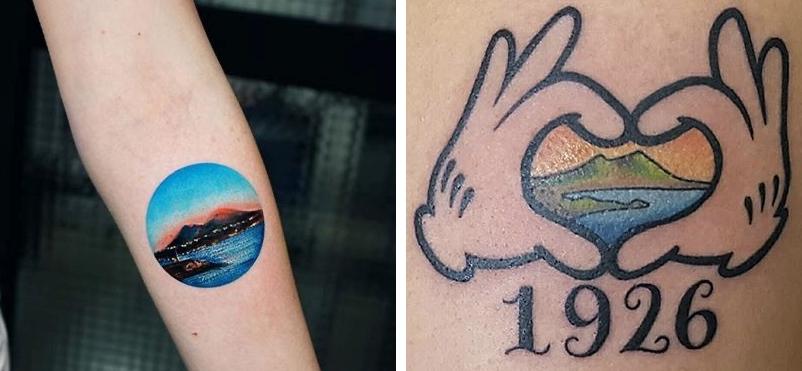 Tatuaggio Tattoo Napoli citta Vesuvio disegno
