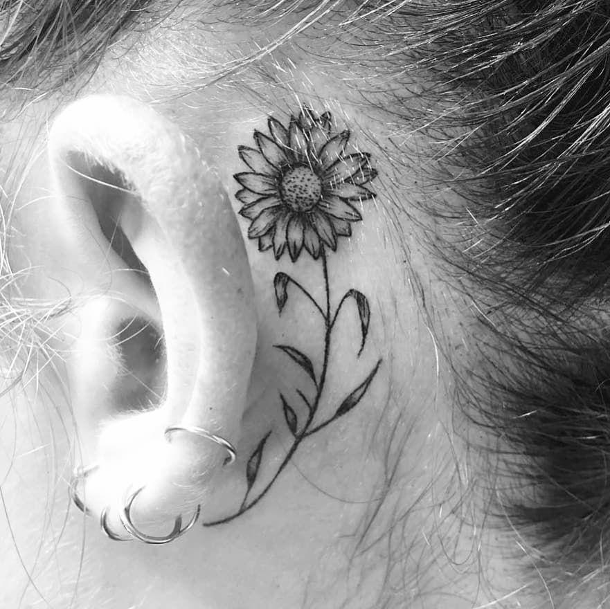 Tatuaggio Tattoo Girasole Bianco e Nero