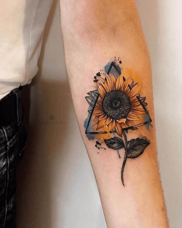 Tatuaggio Tattoo Girasole colorato sfumato