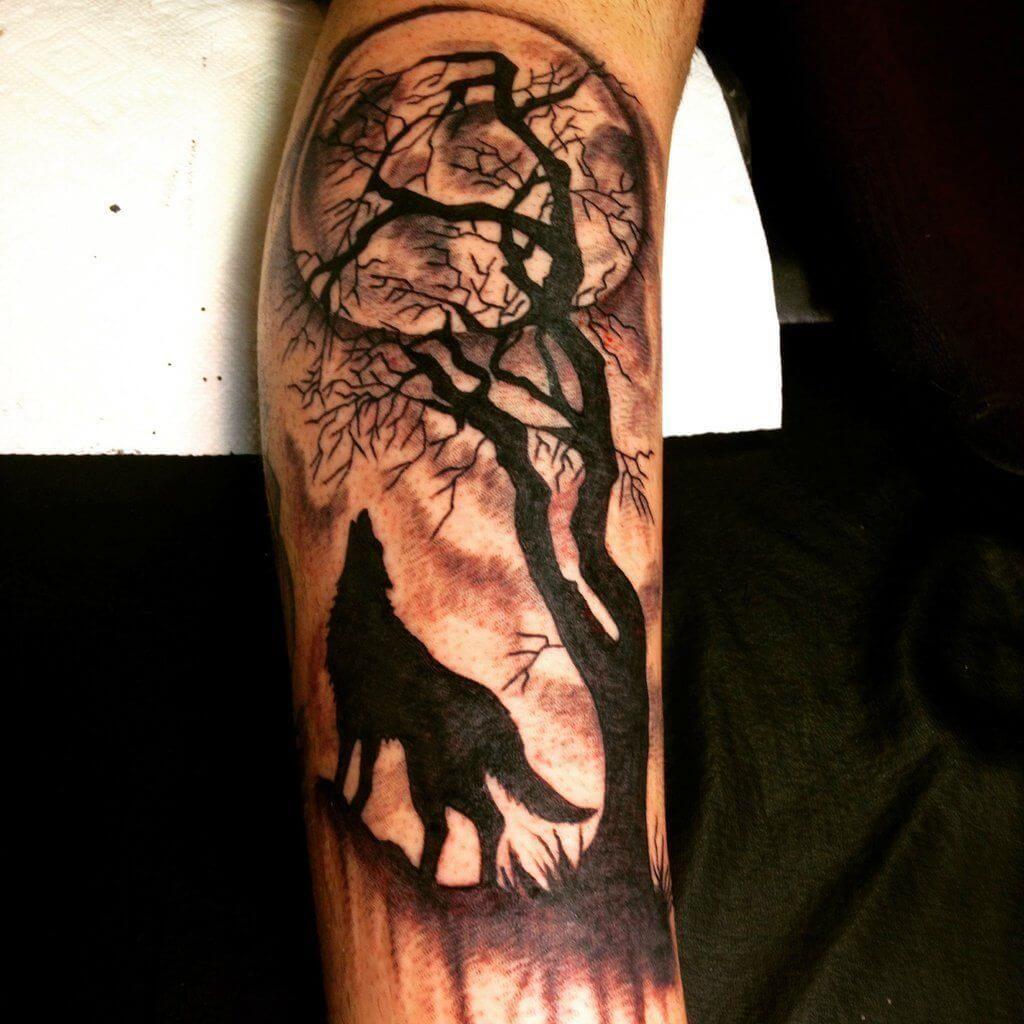 Tatuaggio Tattoo Luna Lupo