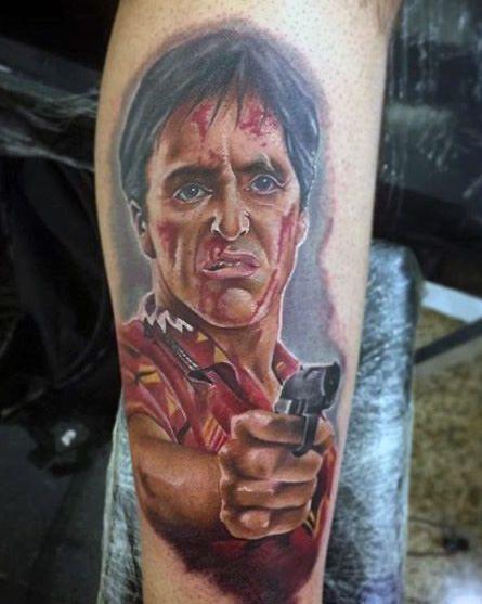 Tatuaggio Tattoo Tony Montana Pistola A Colori